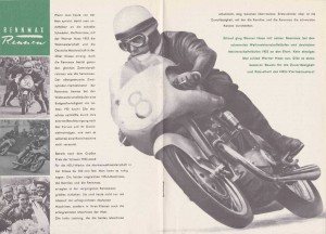 A brochure for the NSU Max from 1953. Featured in the center of the brochure is the RennMax winner racer Werner Haas.