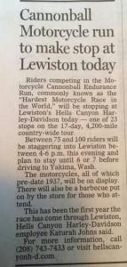 Local press from Lewiston, Idaho.
