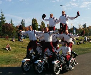 Great entertainment from the Seattle Cossacks on vintage Harleys.