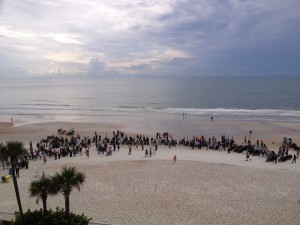 The riders assembled on the beach at Daytona before the start of the coast-to-coast race.