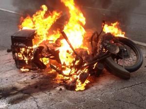 Bike 106 catches fire.