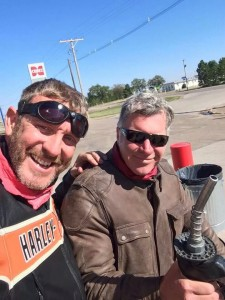 Robert and Dean of Team Vino at a gas stop.