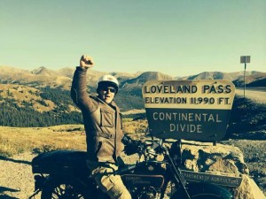 Dean Bordigioni makes it on his 1923 Harley to Loveland Pass.