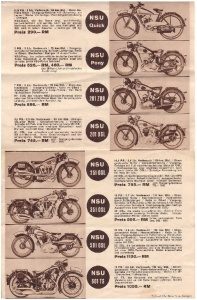 This poster shows the complete line-up of motorcycles offered by NSU.